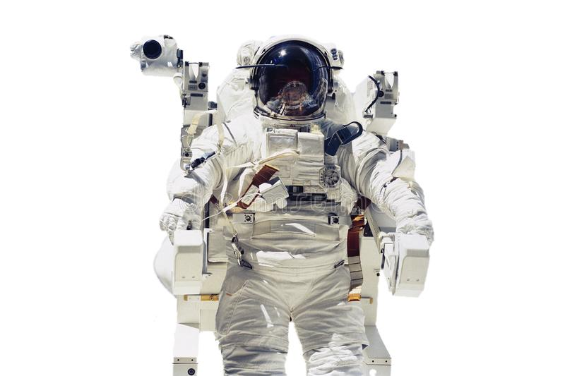 Isolated astronaut flying in space. Elements of this image furnished by NASA f stock photo