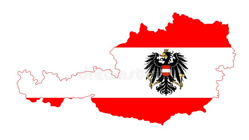 Isolated Austrian Flag and Map. The Austrian flag with the coat of arms over layed inset intoa outline of the map of Austria on white stock illustration