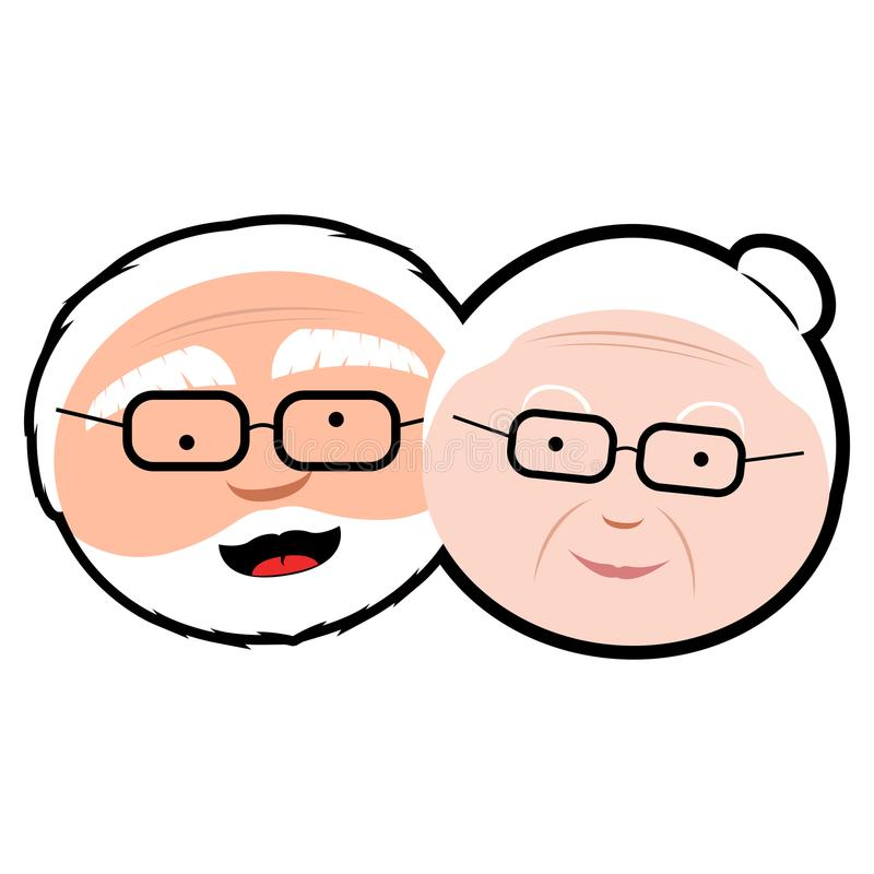 Isolated grandparents avatar. Isolated avatar of a couple of grandparents, Vector illustration vector illustration