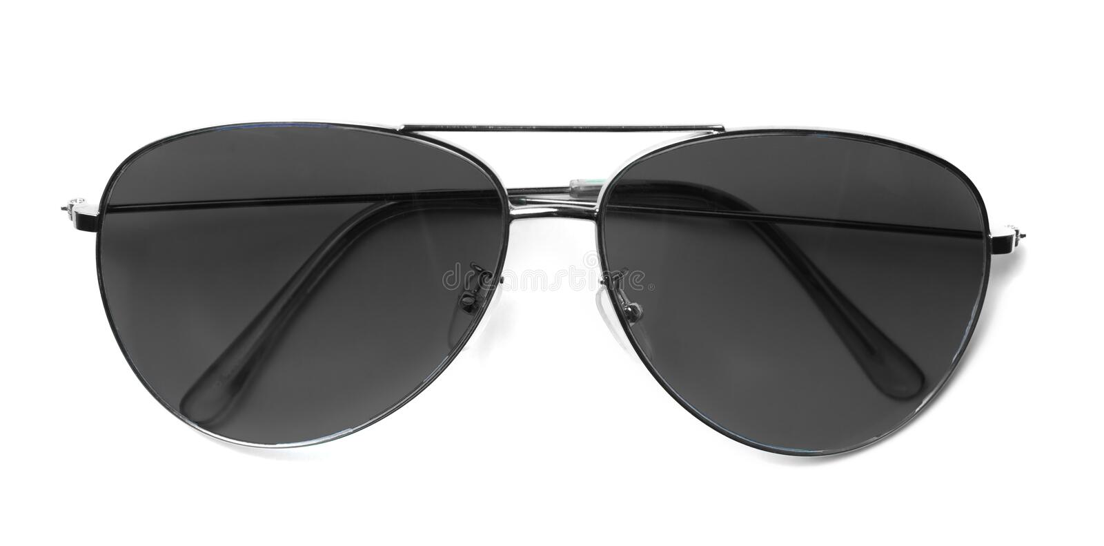 Isolated Aviator Sunglasses with Black Lenses stock photography