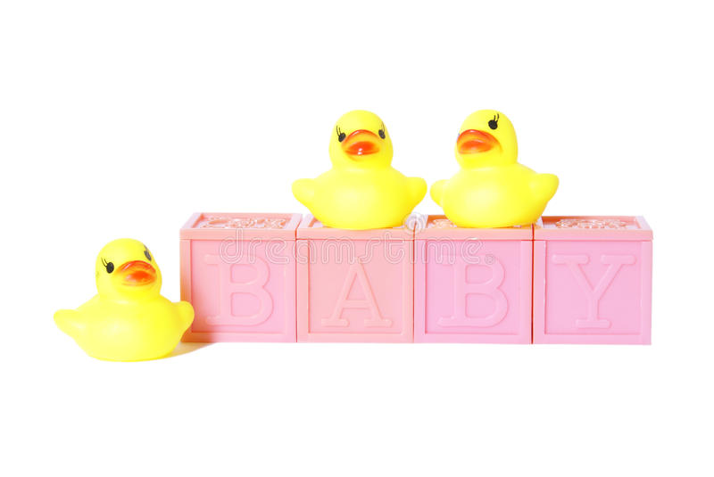 Isolated Baby Blocks. With rubber ducks royalty free stock photography