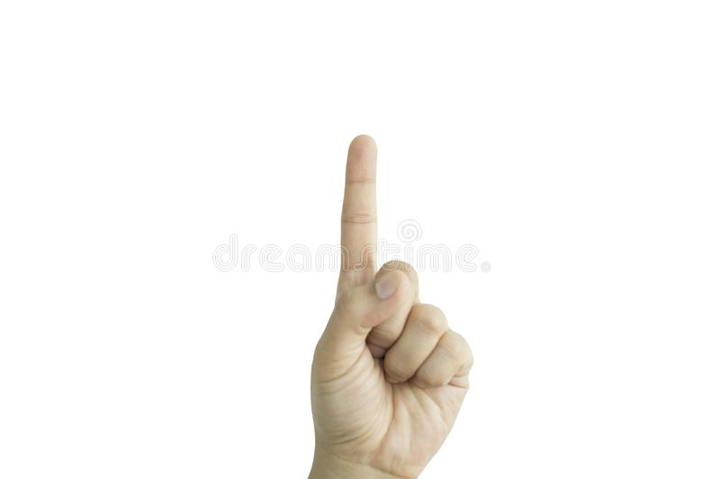 isolated background hand of caucasian man expressive choose fingers. image for success, abstract, body, idea, symbol, icon concept royalty free stock photography