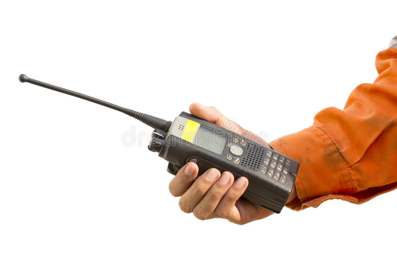 Isolated background.Portable walkie-talkie radio stock photography