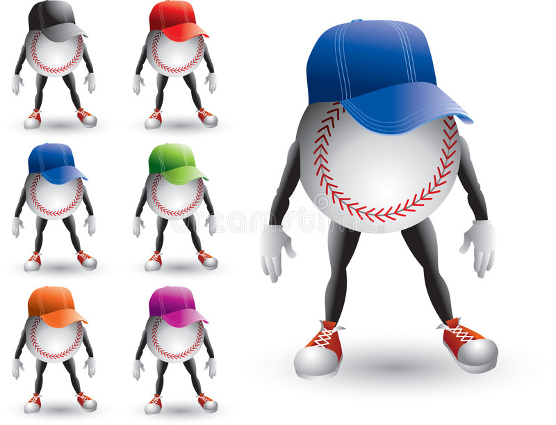 Isolated baseball characters wearing visors royalty free stock images