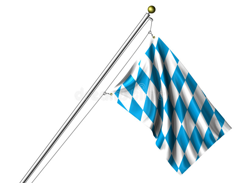 Isolated Bavarian Flag. Detailed 3d rendering of the flag of Bavaria hanging on a flag pole isolated on a white background. Flag has a fabric texture and a stock illustration