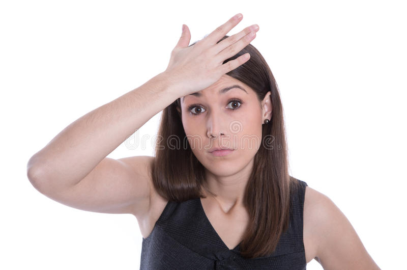 Isolated beautiful woman has forget an appointment stock photo