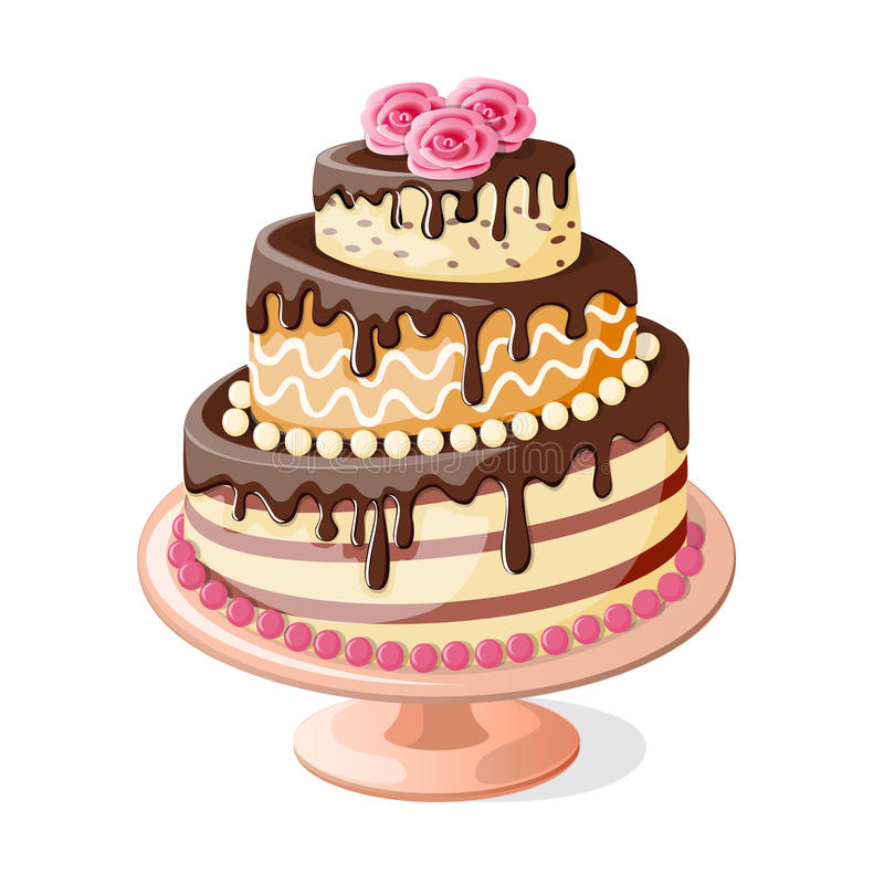 Isolated birthday cake tier with roses. Festive colorful isolated cake tier with roses on the white background. Image for birthday or wedding card. eps10 royalty free illustration