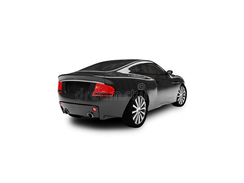 Isolated black car back view royalty free illustration