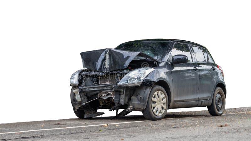 Isolated black car front demolished. stock image