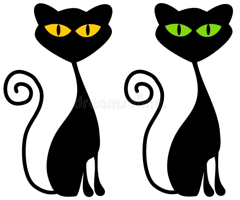 Isolated Black Cats Clip Art. A clip art illustration of 2 black cats with big green and yellow eyes