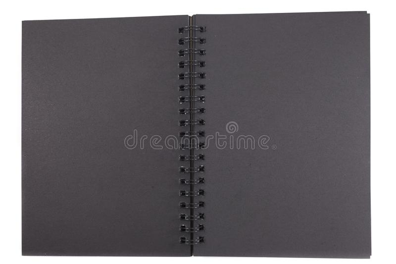 Isolated black cover notebook on white background with copy space. image for business, education, object, diary, equipment concept. Isolated black cover notebook royalty free stock photography