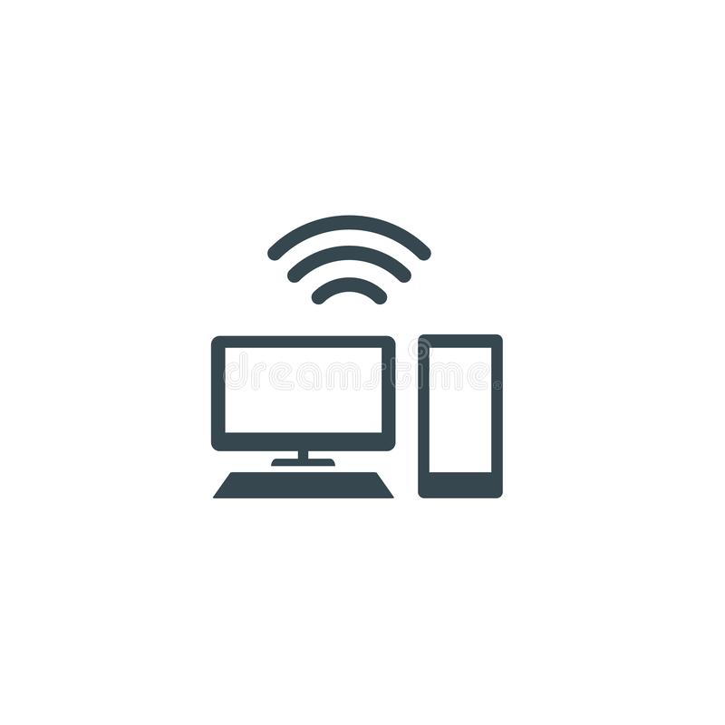 Isolated black flat computer and phone with wi-fi vector illustration