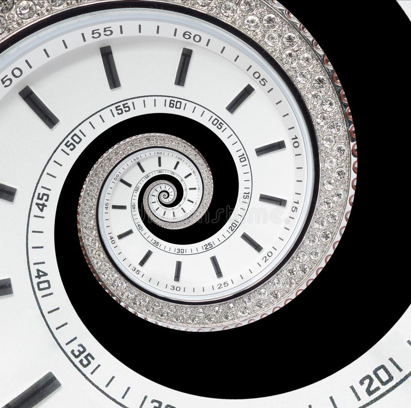 Isolated on black futuristic modern white clock watch abstract fractal surreal spiral. Watch clock unusual abstract texture time royalty free stock photos