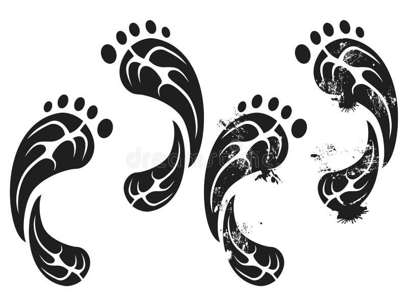 Black grunge carbon eco footprints stock illustration