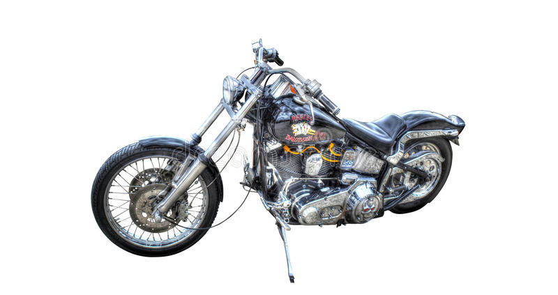 Isolated black Harley Davidson on a white background. A custom painted Harley Davidson on display stock photo