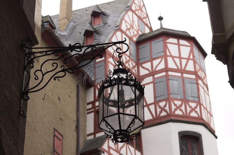 Isolated black lantern in a medieval town Germany. Europe stock photography