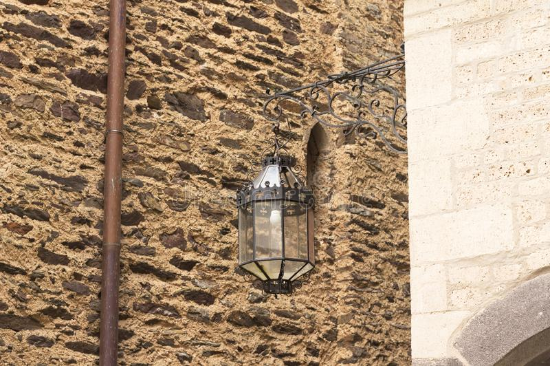 Isolated black lantern in a medieval town Germany. Europe stock images