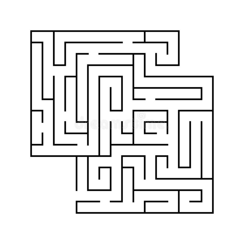Isolated black maze, labyrinth beginning complexity on white background stock illustration