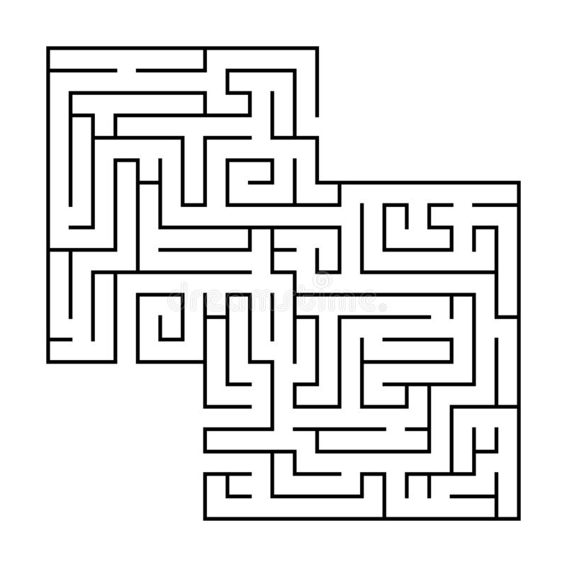 Isolated black maze, labyrinth beginning complexity on white background royalty free illustration