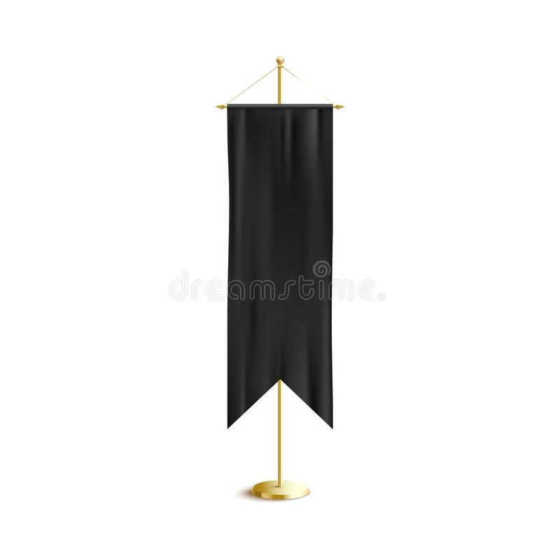 Isolated black medieval banner - blank luxury template with realistic silk fabric texture. royalty free illustration