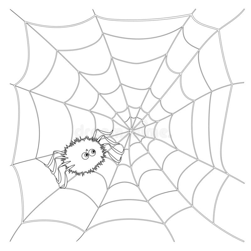 Isolated black outline cartoon spider on web on white background. Curve lines. Page of coloring book. Halloween illustration. vector illustration