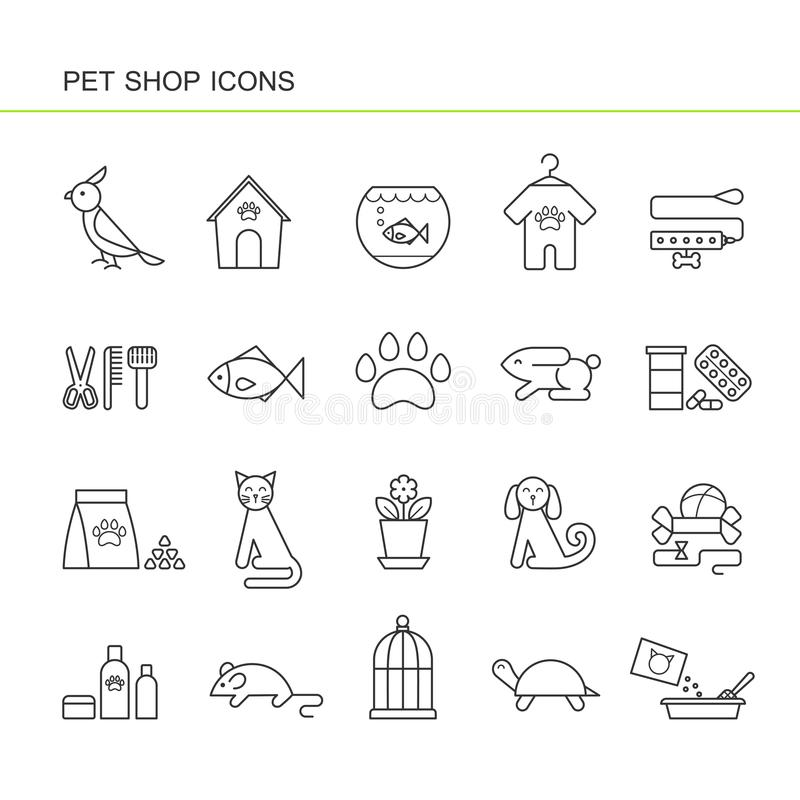 Isolated black outline collection icons of dog, cat, parrot, fish, aquarium, animal food, collar, turtle, kennel, grooming accesso vector illustration