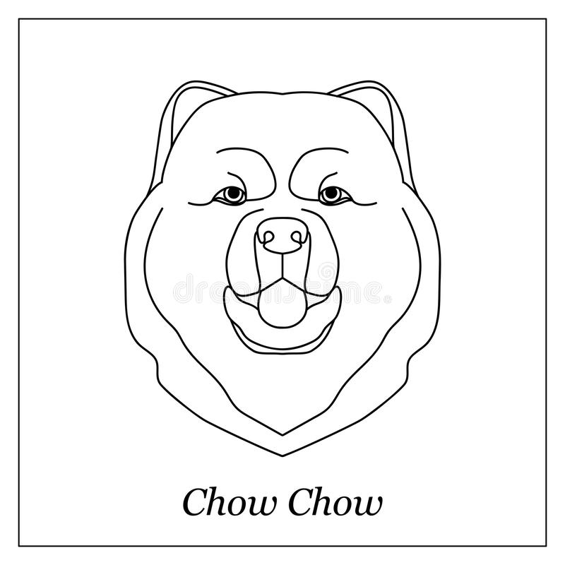 Isolated black outline head of chow chow on white background. Line cartoon breed dog portrait. vector illustration