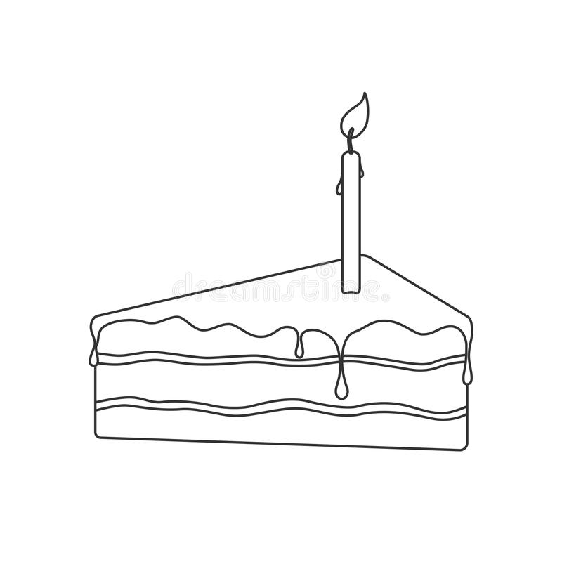 Isolated black outline pie of birthday sponge cake with chocolate and candle light on white background stock illustration