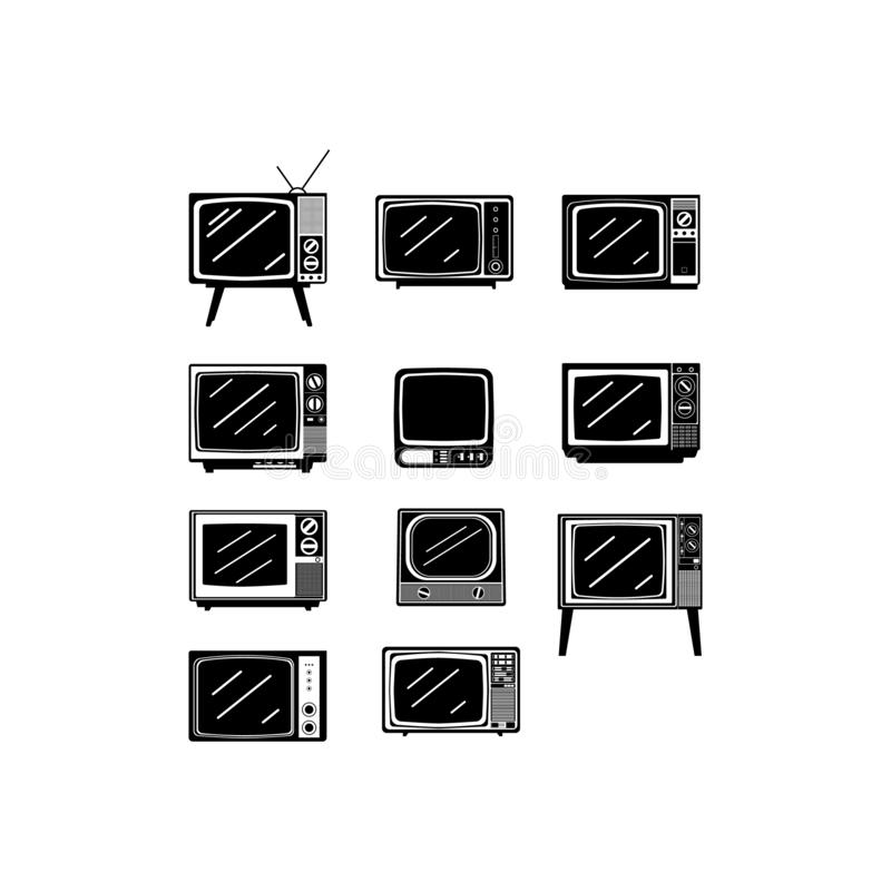 Isolated black retro tv icons set on white background. Black retro television icon vector set design image. Old style tv retor design vector image royalty free illustration