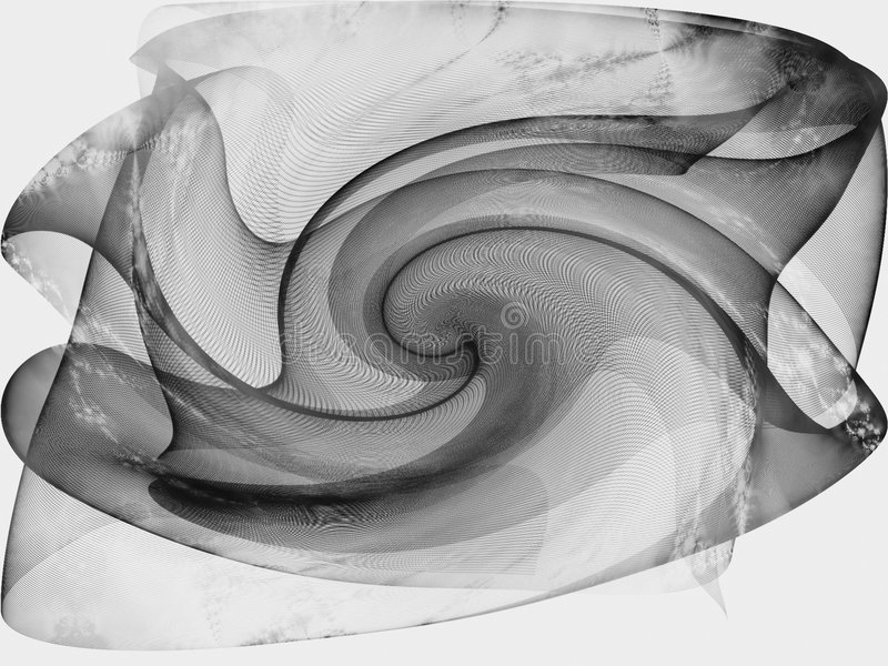Isolated Black Silk Scarf. An abstract digital fantasy art silk swirl texture in black and white royalty free illustration