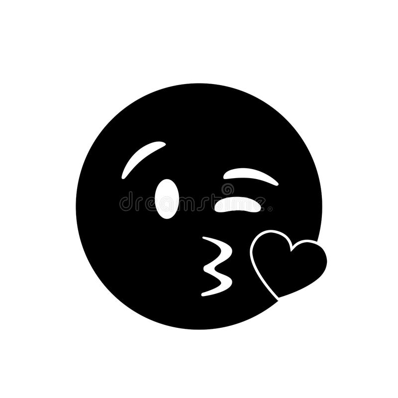 Isolated black smiley face with kissing mouth icon. The isolated black smiley face with kissing mouth icon vector illustration