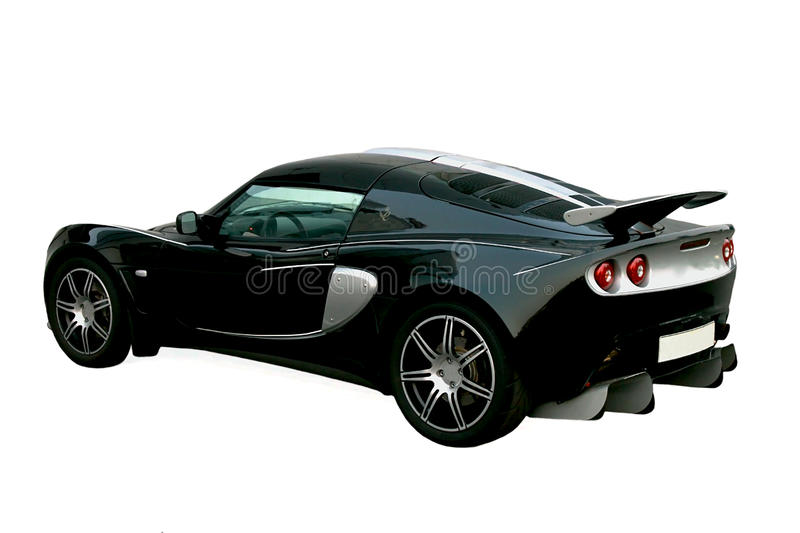 Isolated black sport car stock photography