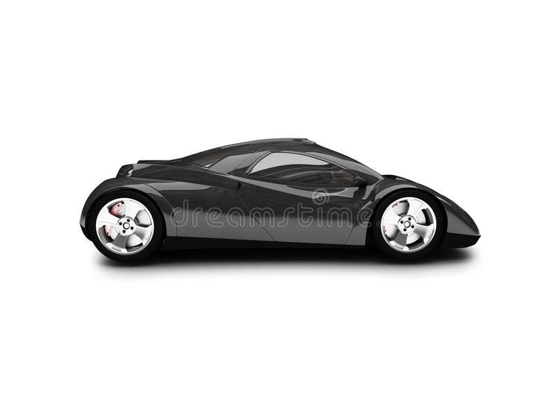 Download Isolated Black Super Car Side Royalty Free Stock Image - Image: 2488046