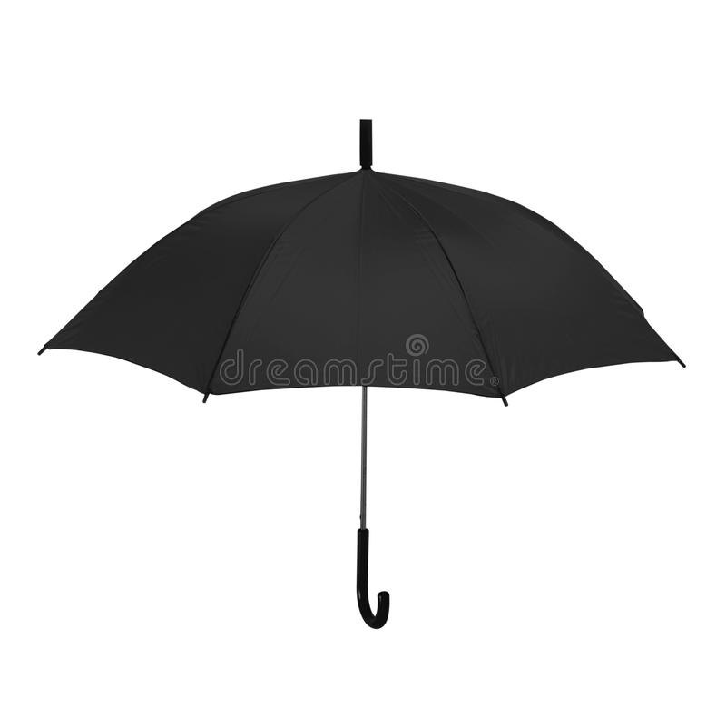 Isolated black umbrella in white background royalty free stock photo