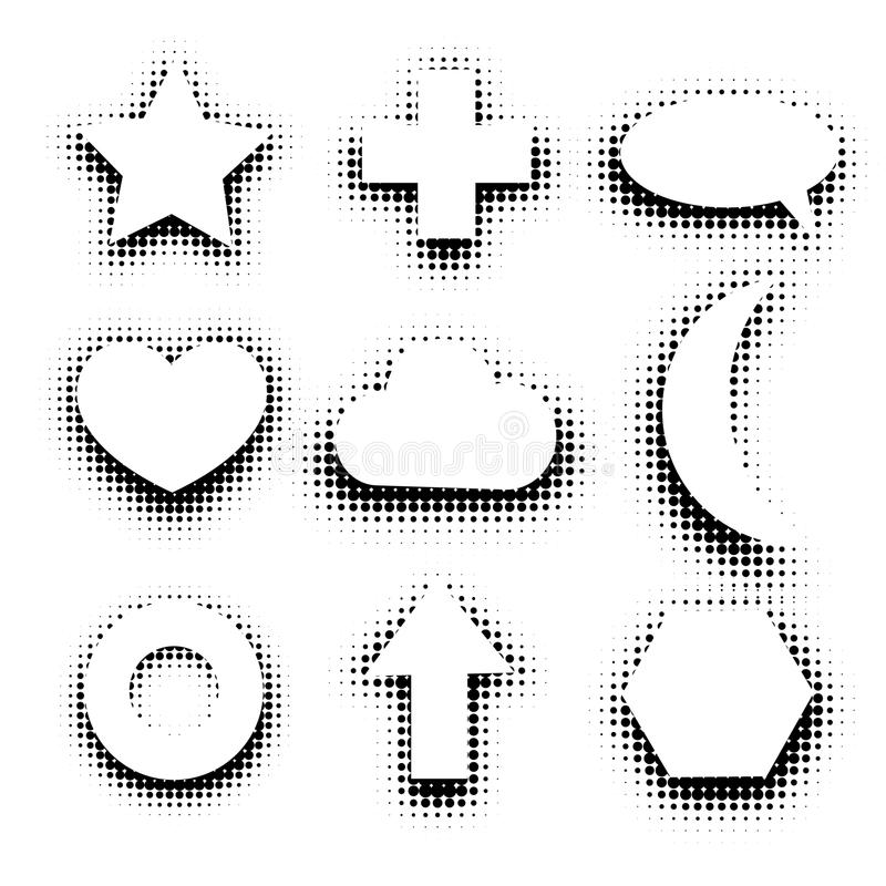 Isolated black and white color abstract dotted contour icons set, simple flat star, cross, speech bubble,heart,cloud stock illustration