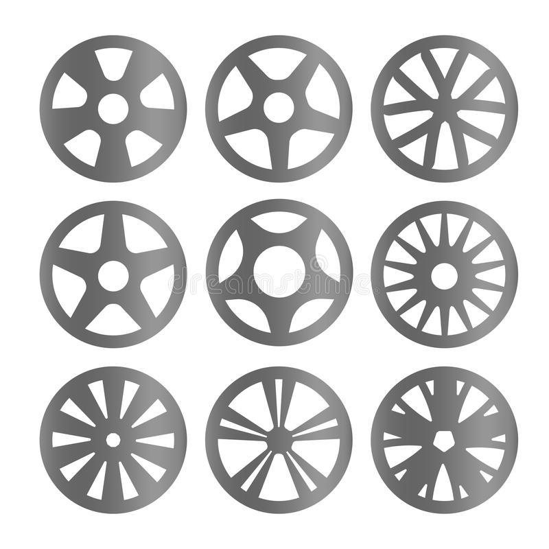 Isolated black and white color alloy wheels logo collection, car elements logotype set vector illustration. royalty free illustration