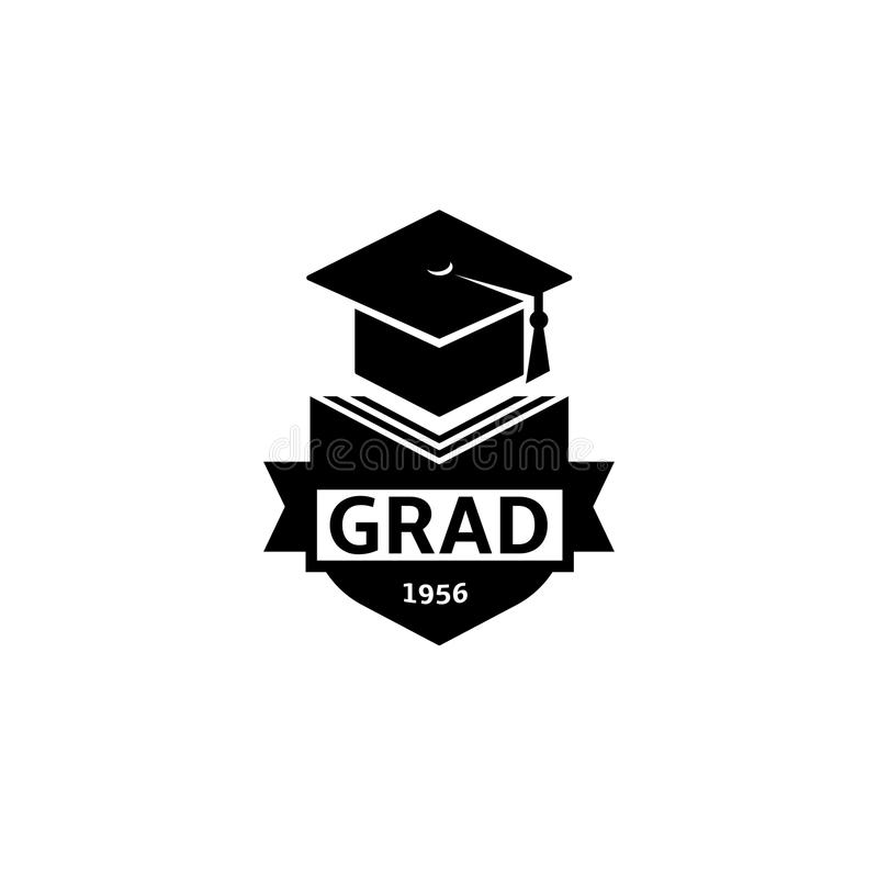 Isolated black and white color bachelor hat of books logo on white background, students graduation uniform logotype. Education element vector illustration vector illustration