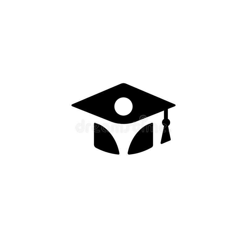 Isolated black and white color bachelor hat with student silhouette logo, graduation uniform logotype, education element. Vector illustration royalty free illustration
