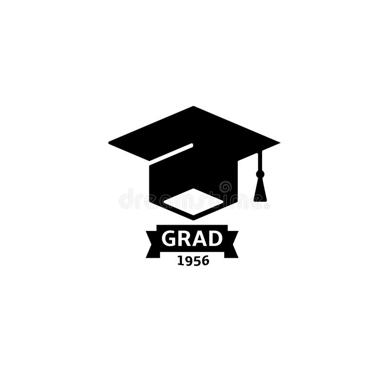 Isolated black and white color bachelor hat with word grad logo, students graduation uniform logotype, education element. Vector illustration stock illustration