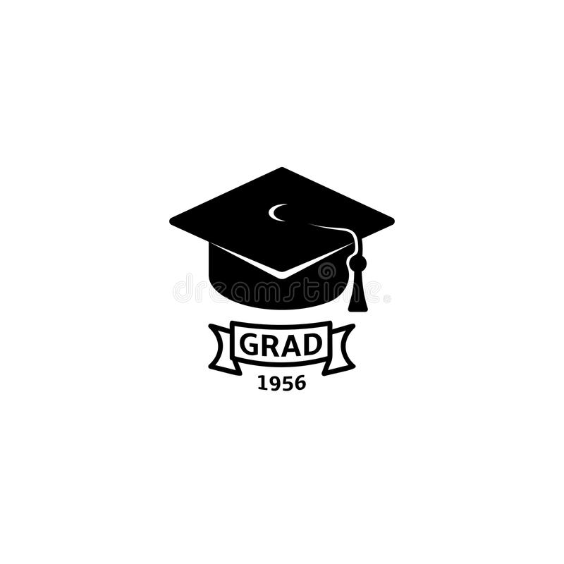 Isolated black and white color bachelor hat with word grad logo, students graduation uniform logotype, education element. Vector illustration vector illustration