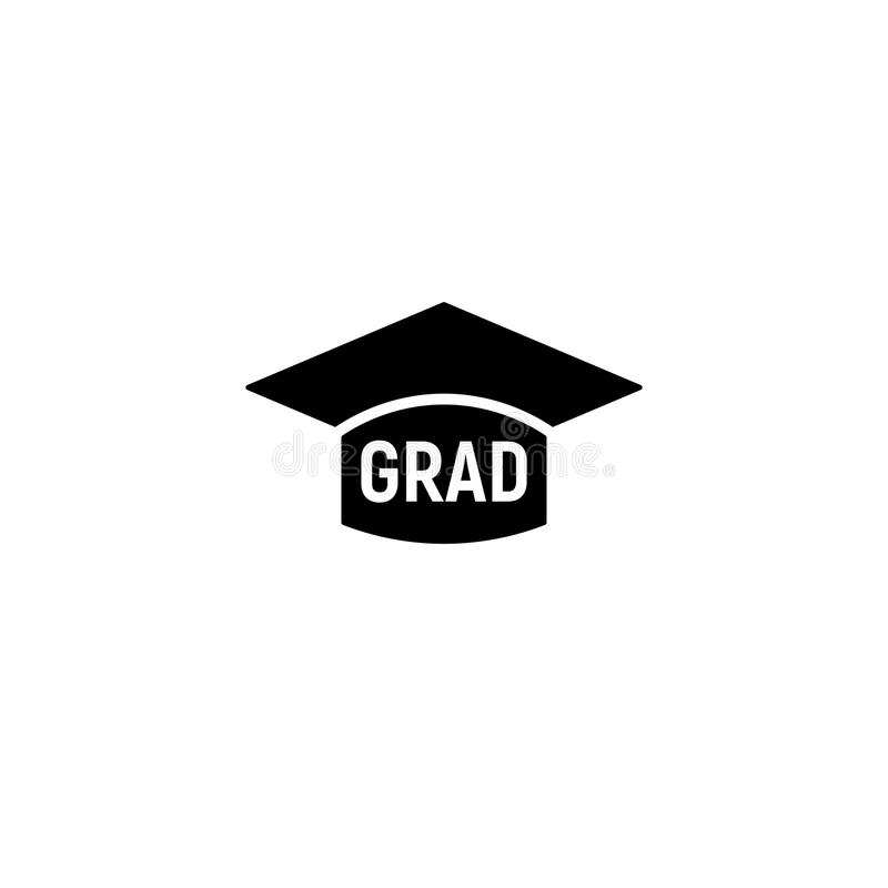 Isolated black and white color bachelor hat with word grad logo, students graduation uniform logotype, education element. Vector illustration royalty free illustration