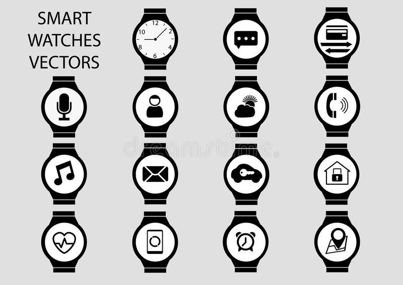 Isolated black and white icon illustrations of smart watch faces. Isolated black and white icon illustrations in flat design. Smart watch clock faces with stock illustration