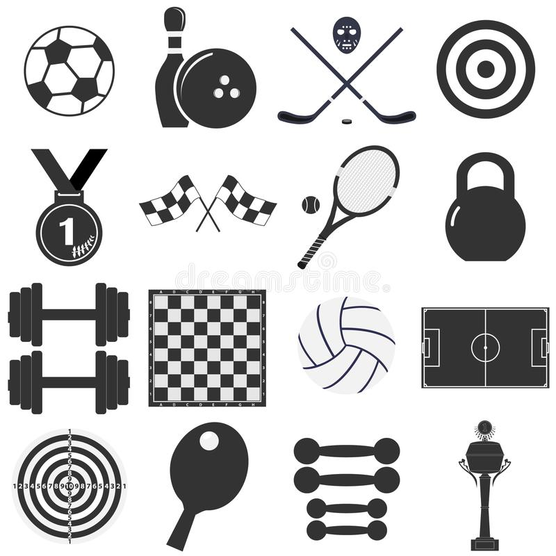 Isolated black and white sports object icons. Icons sports items. Flat design, illustration royalty free illustration