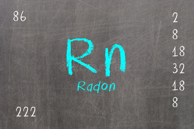 Isolated blackboard with periodic table, Radon royalty free illustration