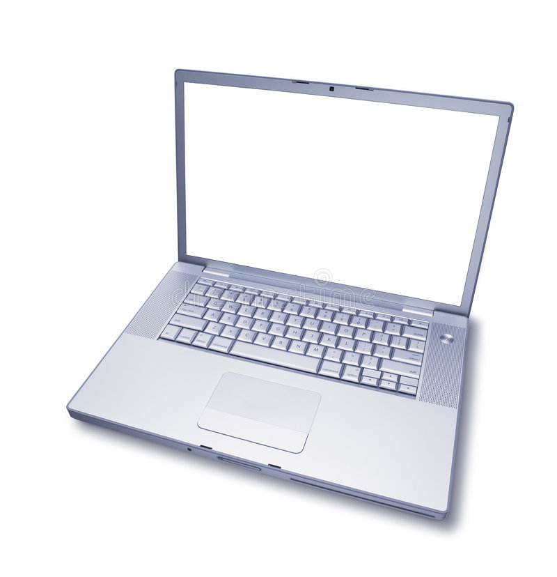 Isolated Blank Laptop Computer. A laptop computer isolated on a white background with a blank screen