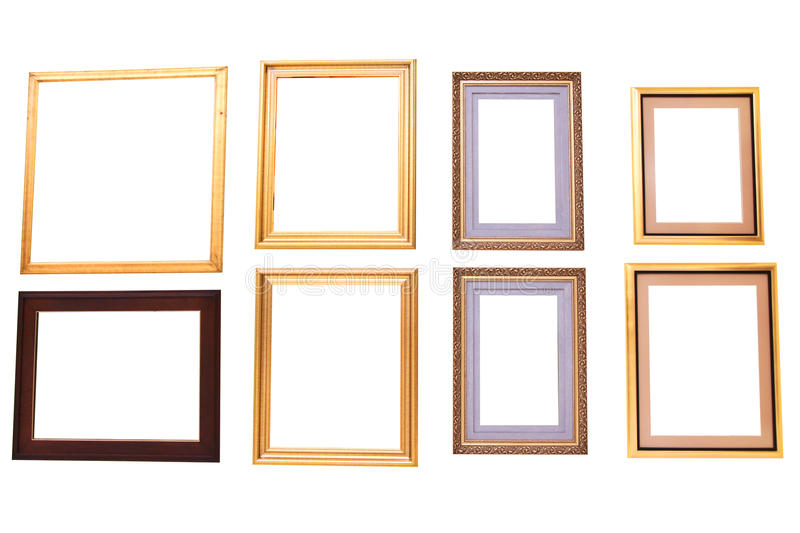 Isolated blank painting frames. On white background stock image