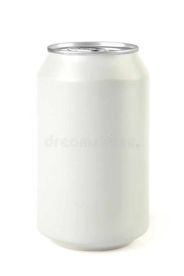 Isolated blank white aluminium can. Isolated blank aluminium can for soda drink or beer stock photo
