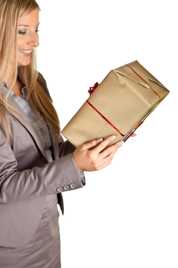 Isolated blond caucasian woman with gifts