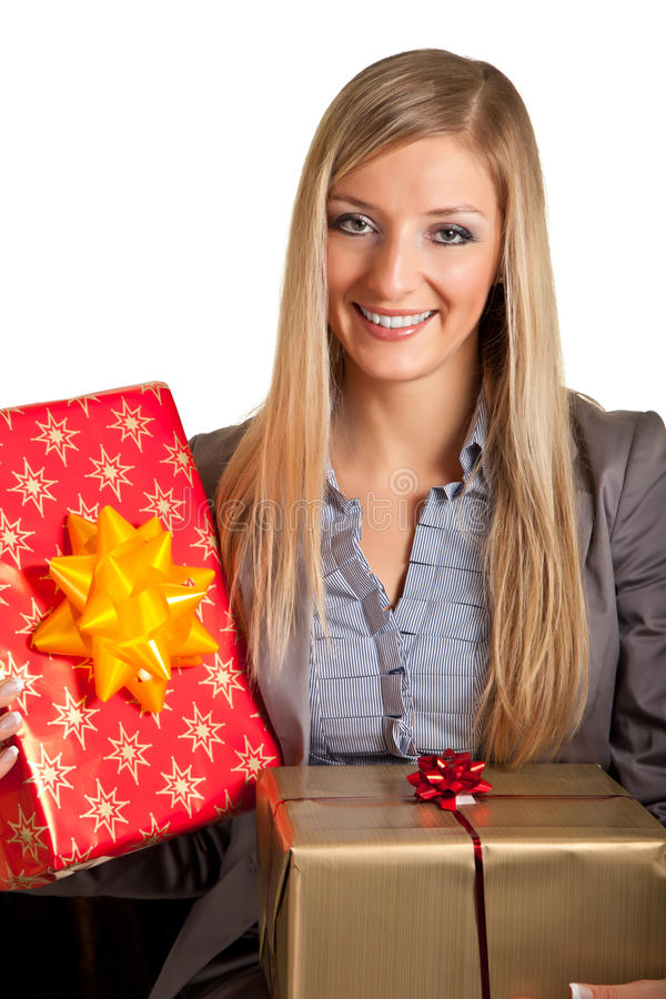 Download Isolated Blond Caucasian Woman With Gifts Stock Photo - Image: 17232290