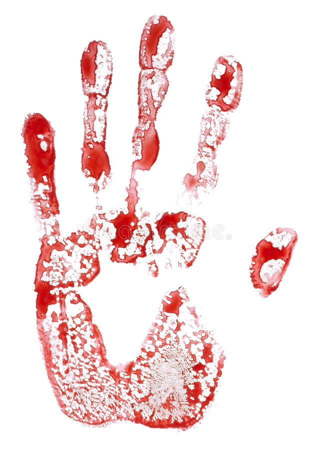 Isolated bloody handprint